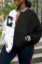 Black And White Fashion Casual Letter Print Split Joint Conventional Collar Outerwear