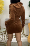 Coffee Casual Solid Split Joint Pocket Zipper Hooded Collar Three Quarter Two Pieces