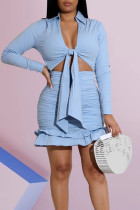 Blue Sexy Solid Split Joint Flounce Fold Knotted Asymmetrical V Neck Long Sleeve Two Pieces