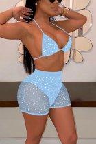 Light Blue Fashion Sexy Mesh Sequins Swimsuit Set