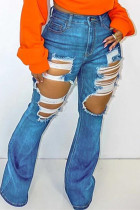 Blue Fashion Casual Solid Ripped High Waist Regular Jeans