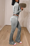 Brown Fashion Street Solid Split Joint O Neck Long Sleeve Two Pieces