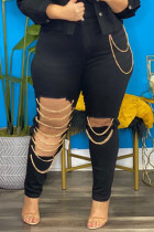 Black Fashion Street Solid Ripped Plus Size Jeans