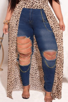 Dark Blue Fashion Street Solid Ripped Plus Size Jeans
