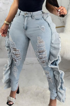 Baby Blue Fashion Casual Solid Ripped High Waist Denim Jeans