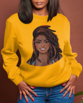 Yellow Casual Street Character Split Joint O Neck Tops