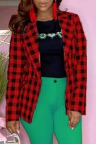 Red Fashion Casual Plaid Print Cardigan Turndown Collar Outerwear