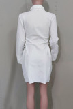 White Fashion Casual Solid Bandage Turndown Collar Shirt Dress