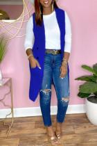 Blue Fashion Casual Solid Cardigan Turndown Collar Outerwear