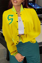 Yellow Fashion Casual Patchwork Cardigan Outerwear