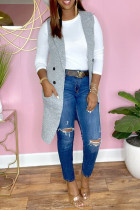 Silver Fashion Casual Solid Cardigan Turndown Collar Outerwear