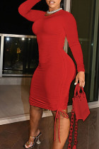 Red Sexy Solid Split Joint Draw String Fold O Neck Pencil Skirt Dresses