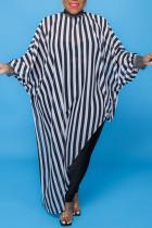 Stripe Sexy Print Polka Dot Split Joint Asymmetrical Half A Turtleneck Plus Size Tops