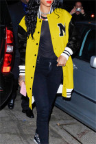Yellow Fashion Casual Patchwork Letter Outerwear