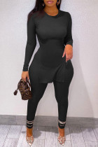 Black Fashion Casual Solid Split Joint O Neck Plus Size Two Pieces