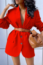 Red Casual Solid Split Joint Turndown Collar Outerwear