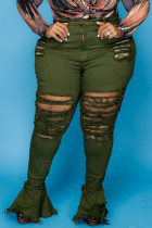 Army Green Sexy Solid Ripped Split Joint Plus Size Jeans