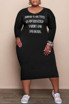 Black Fashion Casual Letter Print Basic V Neck Long Sleeve Plus Size Dresses