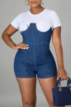 The cowboy blue Casual Solid Split Joint O Neck Straight Jumpsuits