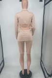 Cream White Casual Solid Split Joint Turndown Collar Long Sleeve Two Pieces