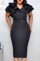 Black Fashion Elegant Solid Split Joint V Neck Pencil Skirt Dresses
