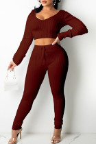 Red Casual Solid Split Joint V Neck Long Sleeve Two Pieces