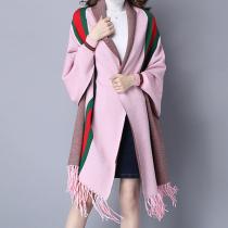 Pink Casual Street Striped Tassel Outerwear