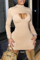 Apricot Fashion Sexy Solid Hollowed Out Half A Turtleneck Long Sleeve Dresses
