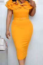 Yellow Fashion Elegant Solid Split Joint V Neck Pencil Skirt Dresses