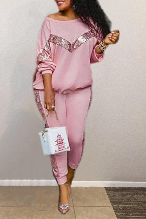 Pink Casual Solid  Sequins O Neck Long Sleeve Two Pieces