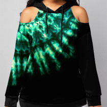 Green Casual Street Print Split Joint Without Belt Hooded Collar Tops