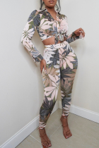 Apricot Sexy Print Bandage Turndown Collar Long Sleeve Two Pieces