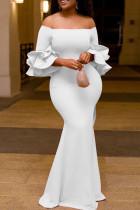 White Fashion Celebrities Solid Split Joint Off the Shoulder Pencil Skirt Dresses