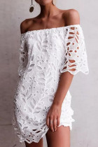 White Sweet Solid Hollowed Out Split Joint Off the Shoulder Straight Dresses