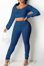 Blue Casual Solid Split Joint V Neck Long Sleeve Two Pieces