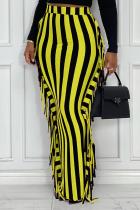 Yellow Sexy Striped Tassel Skinny High Waist Pencil Full Print Bottoms