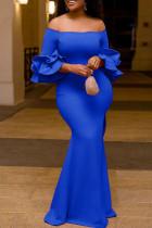 Blue Fashion Celebrities Solid Split Joint Off the Shoulder Pencil Skirt Dresses
