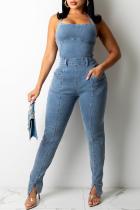 Grey Sexy Solid Split Joint Halter Sleeveless Skinny Denim Jumpsuits