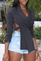 Black Fashion Street Solid Split Joint V Neck Outerwear