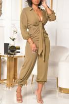 Khaki Fashion Casual Solid Basic V Neck Plus Size Jumpsuits