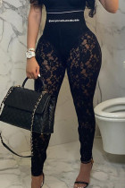 Black Fashion Sexy Patchwork See-through Letter Skinny High Waist Pencil Trousers