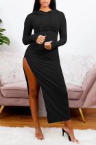 Black Sexy Solid Split Joint Hooded Collar Irregular Dress Dresses