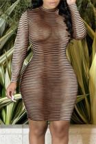 Brown Fashion Sexy Print See-through O Neck Long Sleeve Dresses