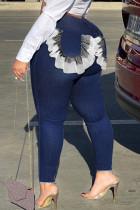 Deep Blue Fashion Street Solid Split Joint Denim Jeans