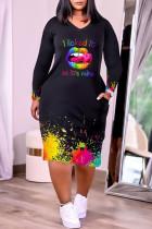 Black Fashion Casual Letter Lips Printed Basic V Neck Long Sleeve Dresses