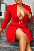 Red Fashion Street Solid Split Joint Turn-back Collar Pencil Skirt Dresses