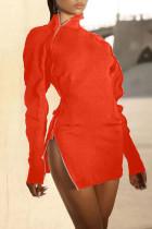 Tangerine Sexy Solid Split Joint Zipper Zipper Collar One Step Skirt Dresses