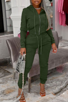 Green Fashion Casual Solid Split Joint Hooded Collar Long Sleeve Two Pieces