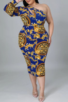 Multicolor Sexy Casual Print Hollowed Out Backless Zipper Collar Long Sleeve Plus Size Dresses