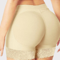 Apricot Fashion Solid Patchwork Hip Lift Shaping Body Shaping Pants